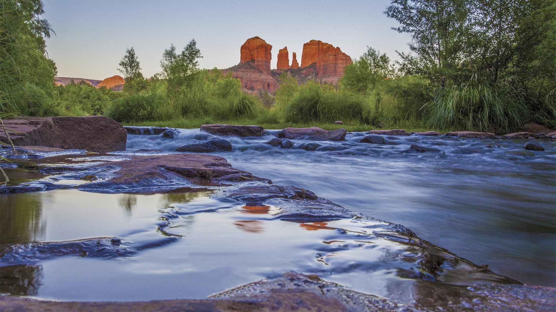 Buttes reflecting in the water outside Sedona, Arizona