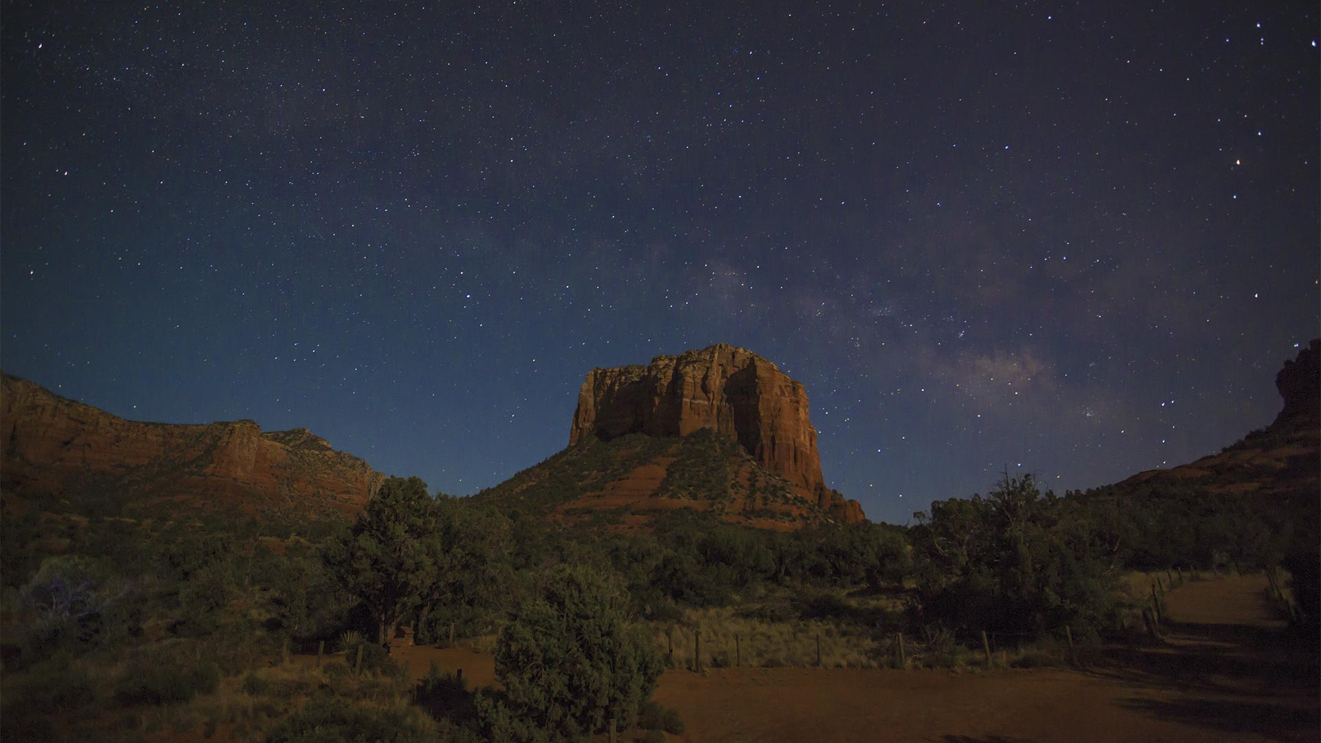 Stars above a butte in Sedona, Arizona