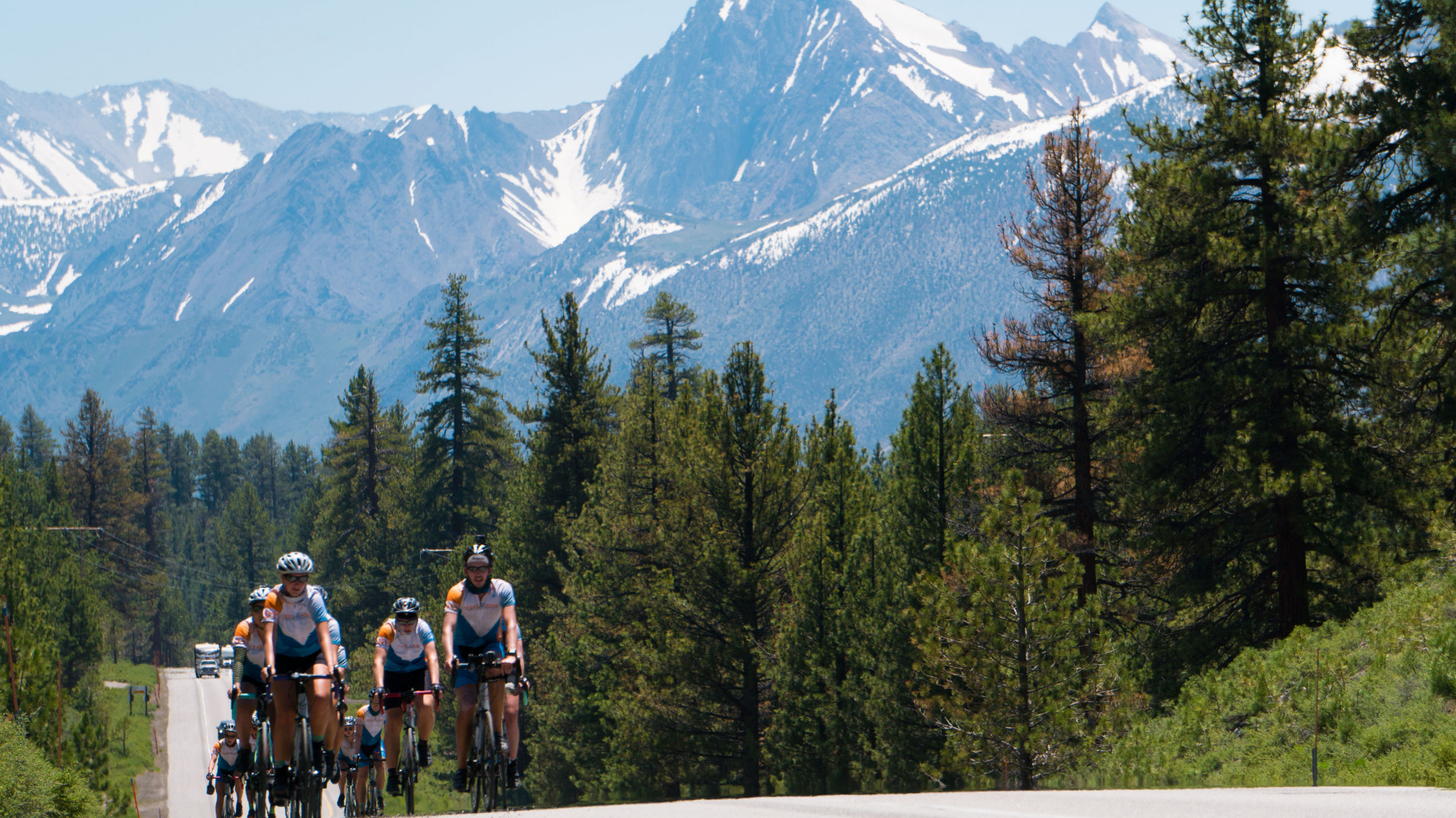 Cycling among the High Sierra mountains near Mammoth Lakes, California