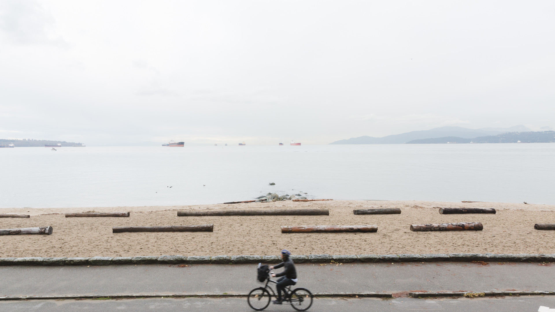 Cycling the seawall at Stanley Park, Vancouver