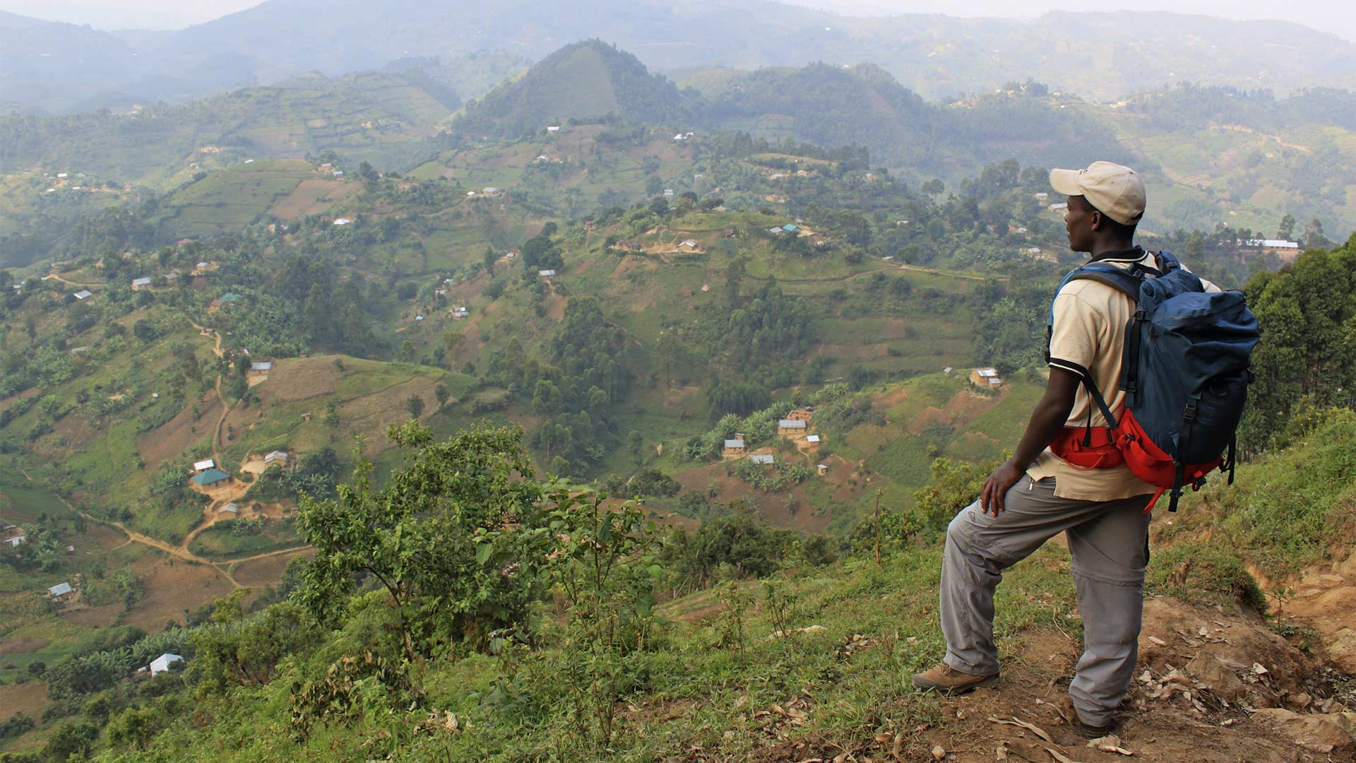 Standing on the edge of the Bwindi Impenetrable Forest in Uganda