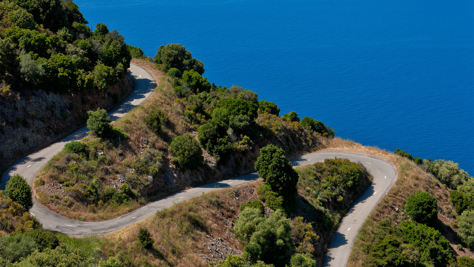 Switchbacks for cycling in Corsica, France