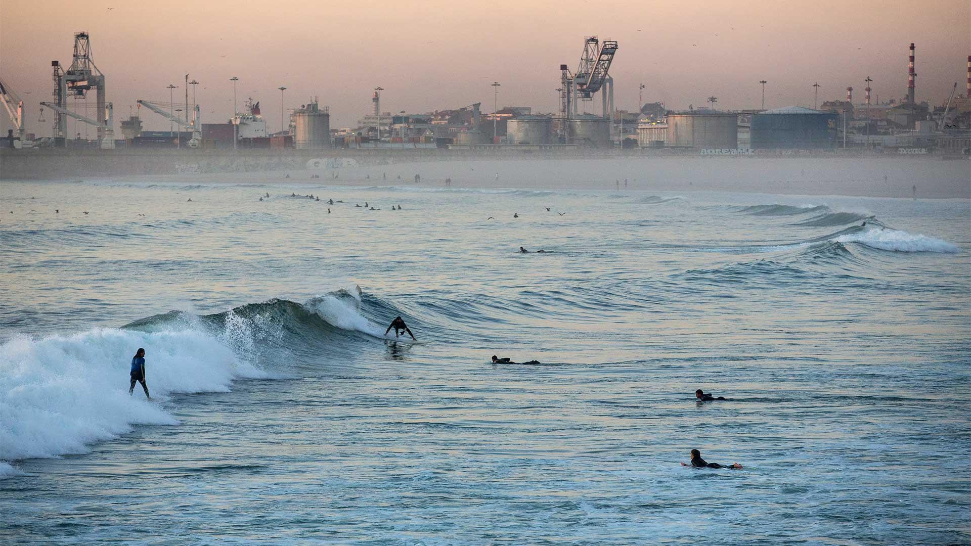 Surfing in Porto, Portugal