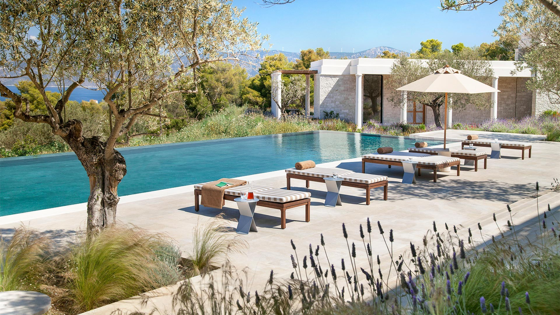 Poolside at Amanzoe luxury resort