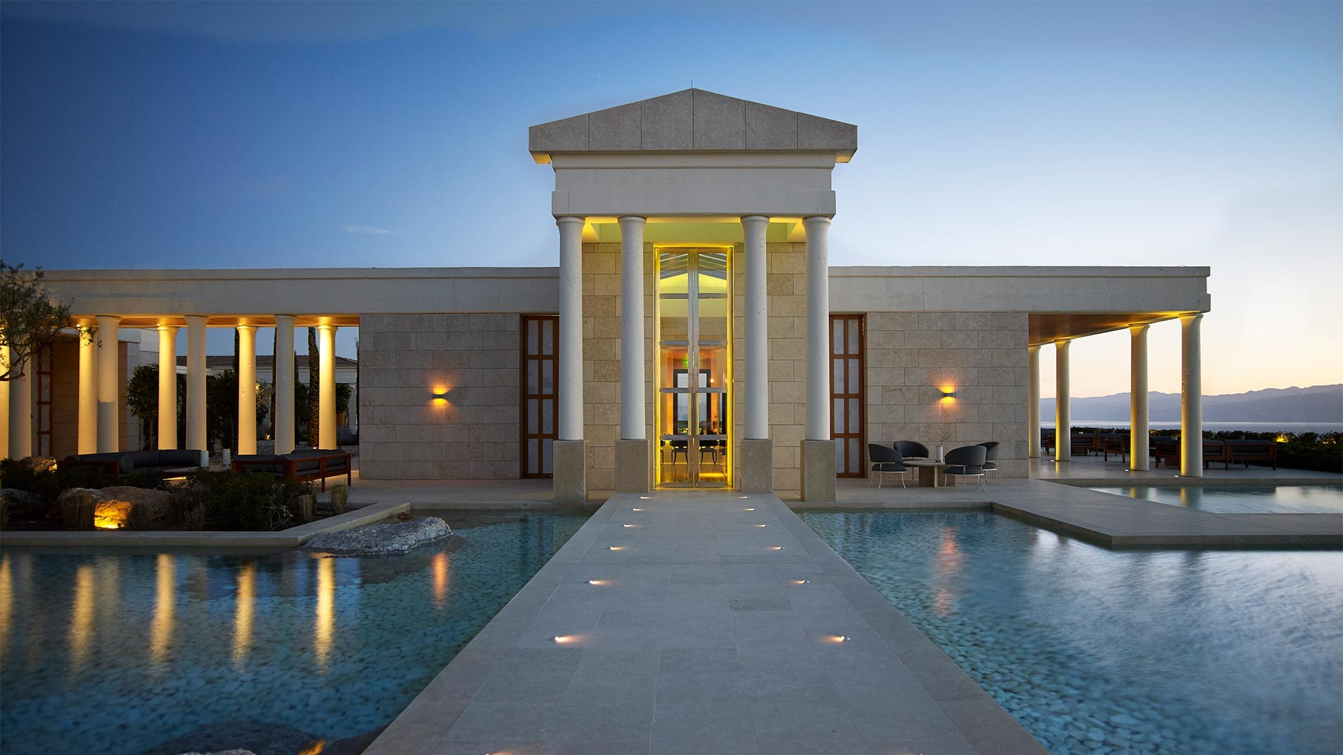 Exterior of Amanzoe luxury resort
