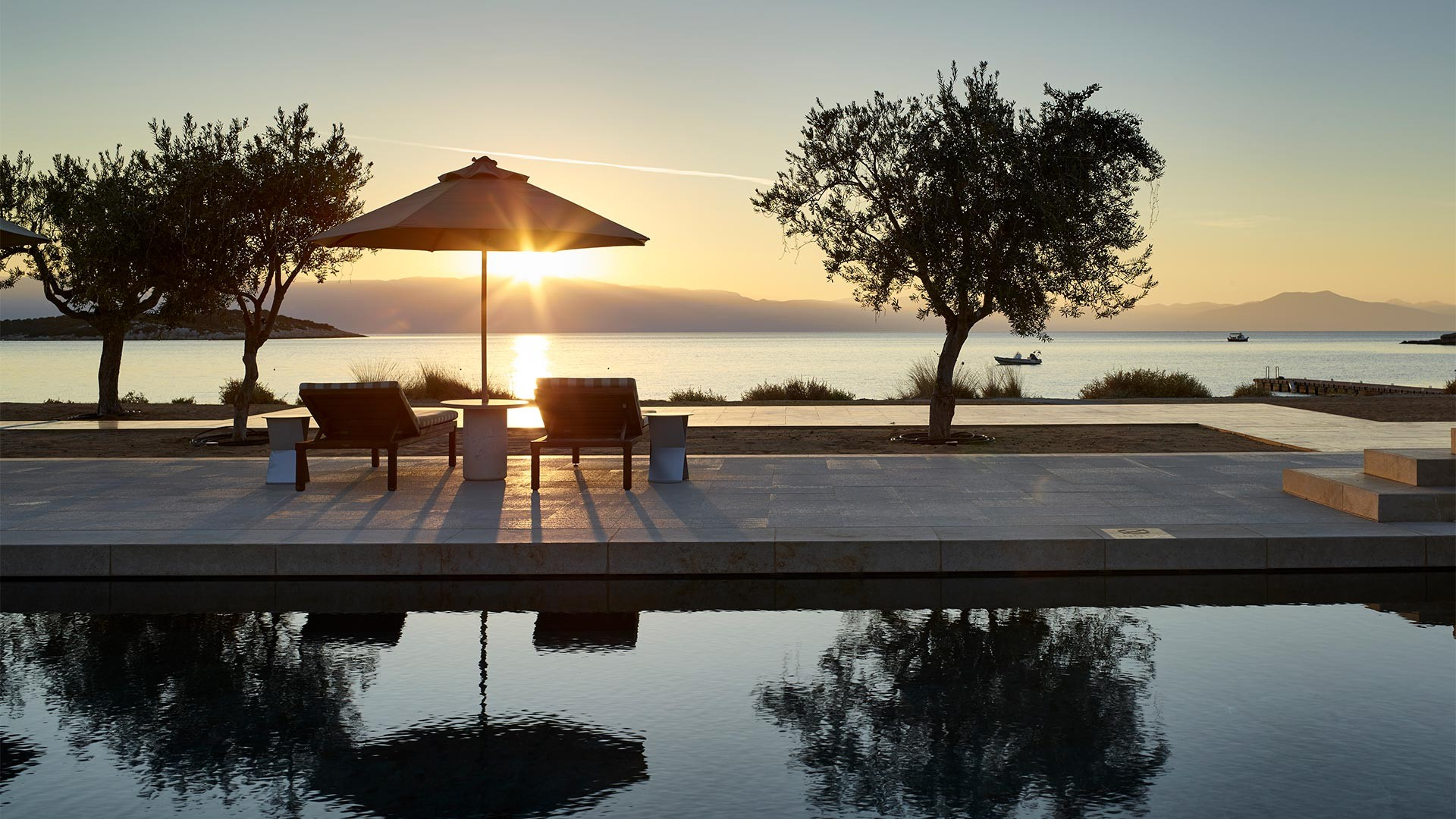 Sunset at Amanzoe luxury resort