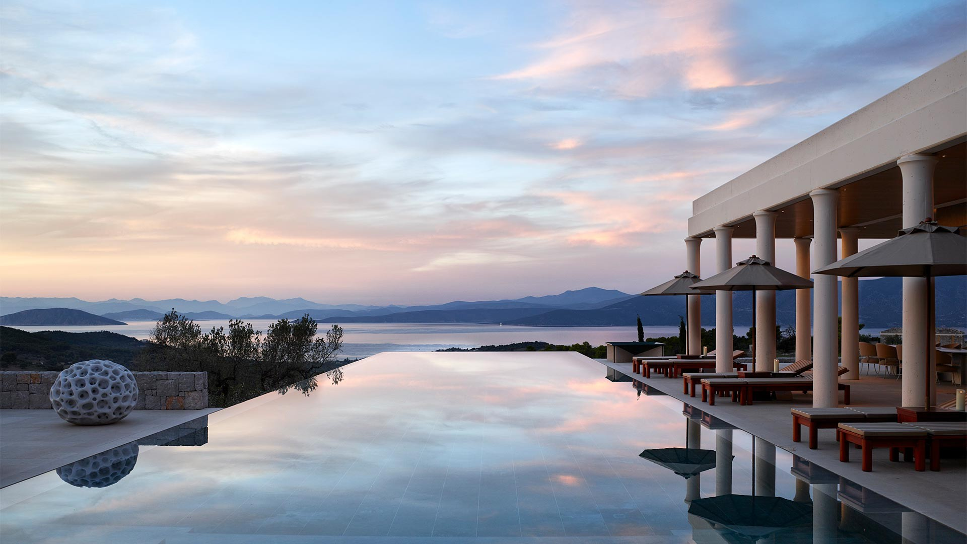 Infinity pool at Amanzoe luxury resort