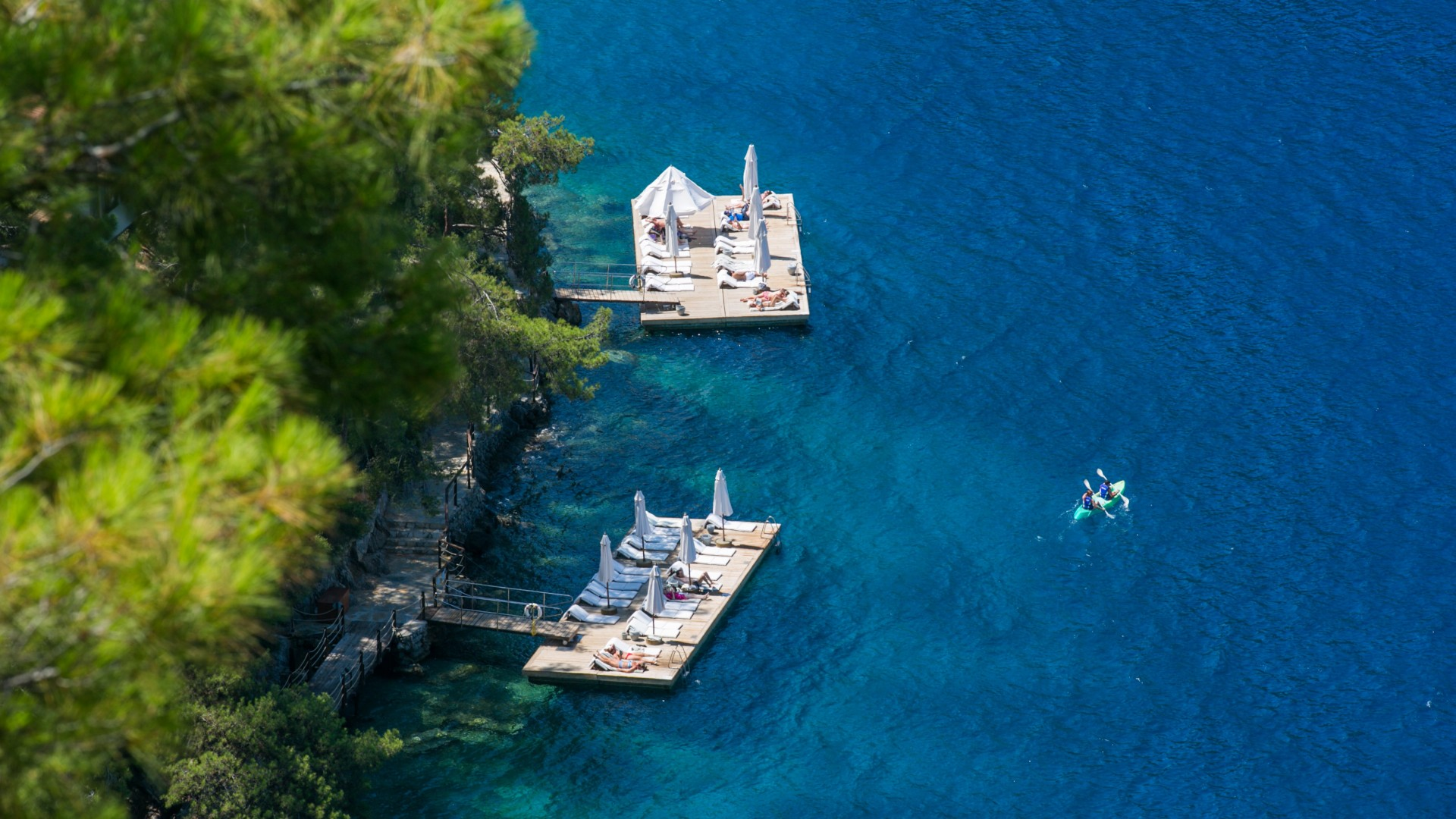 Bathing platforms at Hillside Beach Club luxury resort, Turkey