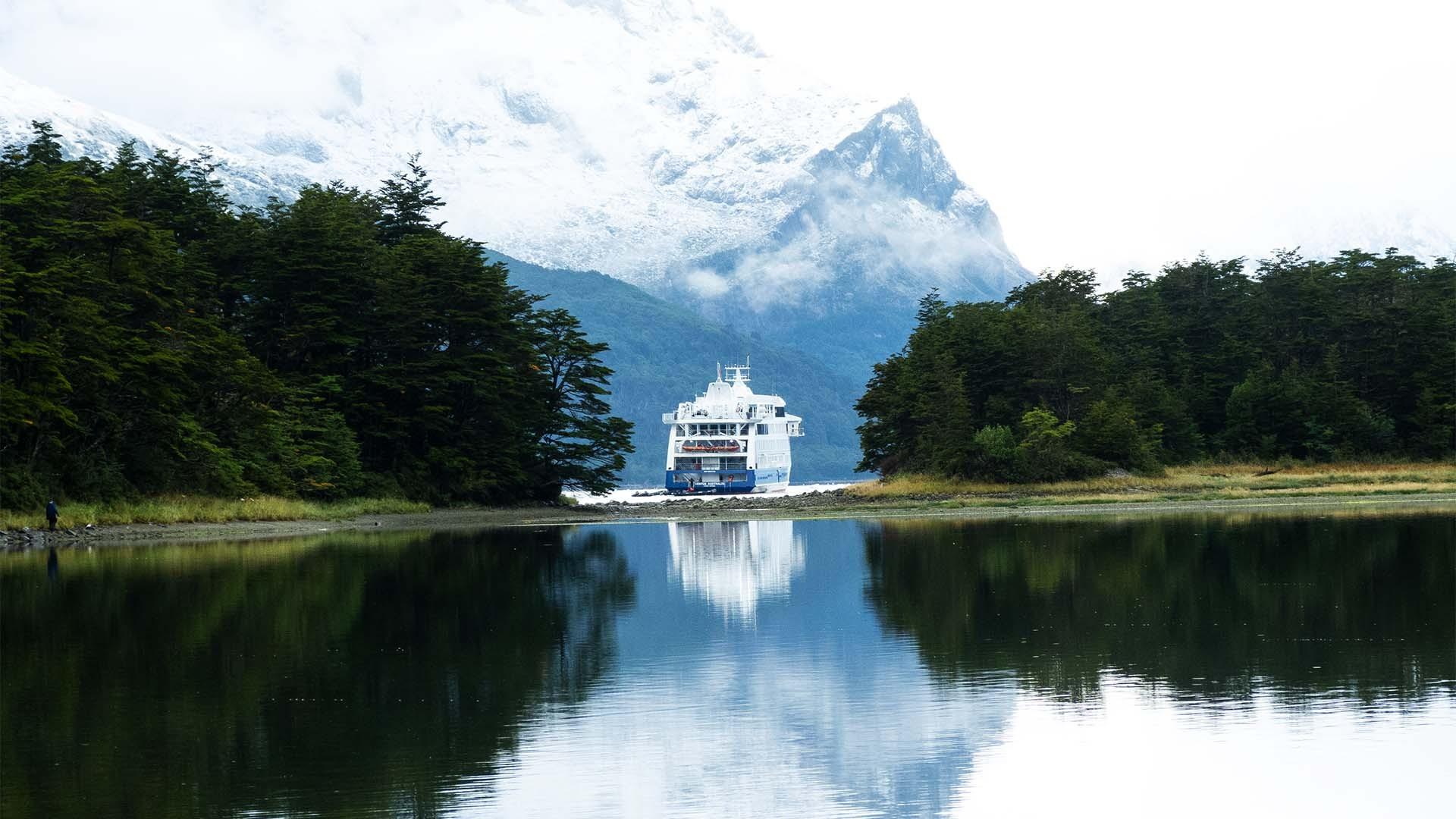 Onshore at the Aguila Glacier in Tierra del Fuego, Patagonia