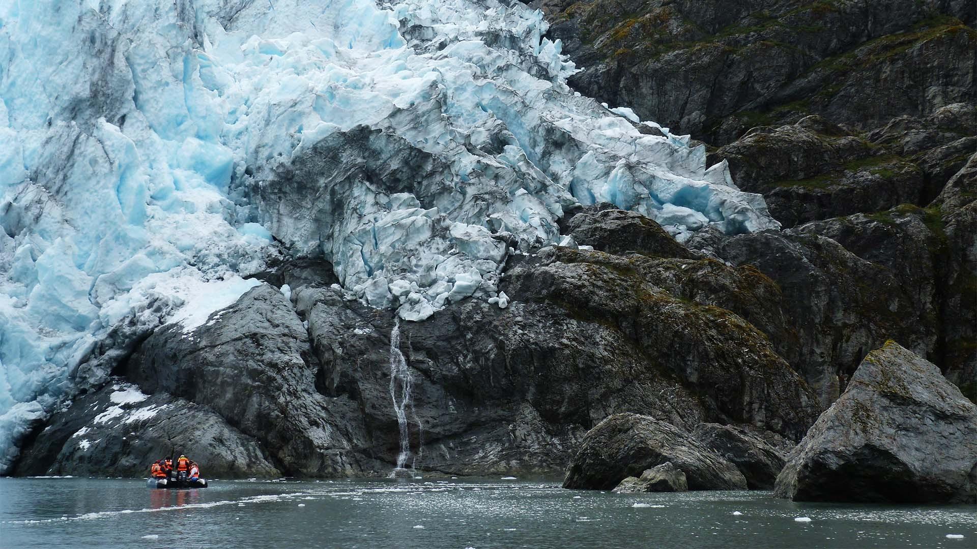 Condor Glacier in the Tierra del Fuego archipelago of Patagonia