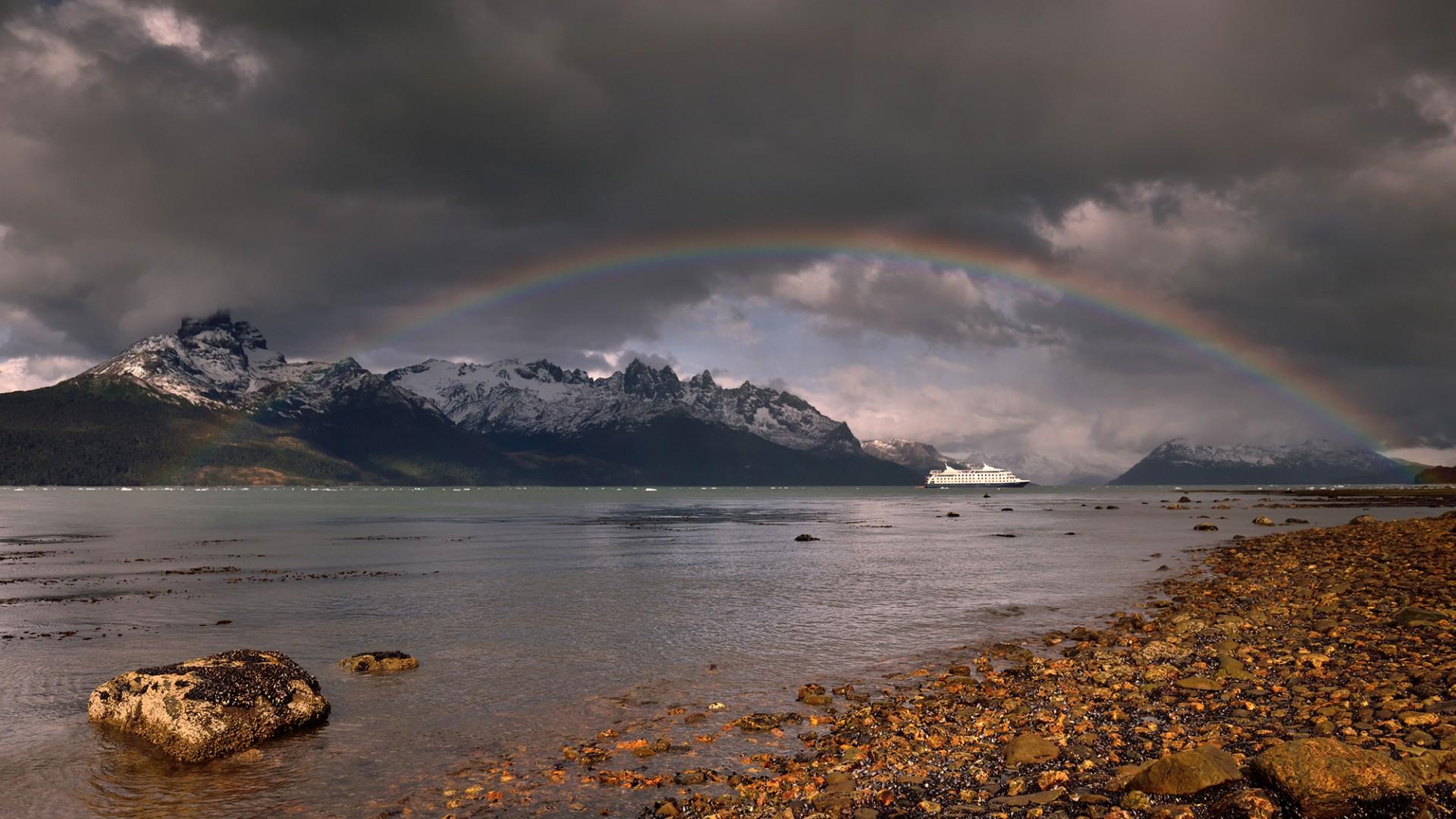 Rainbow over a fjord in Tierra del Fuego, Patagonia