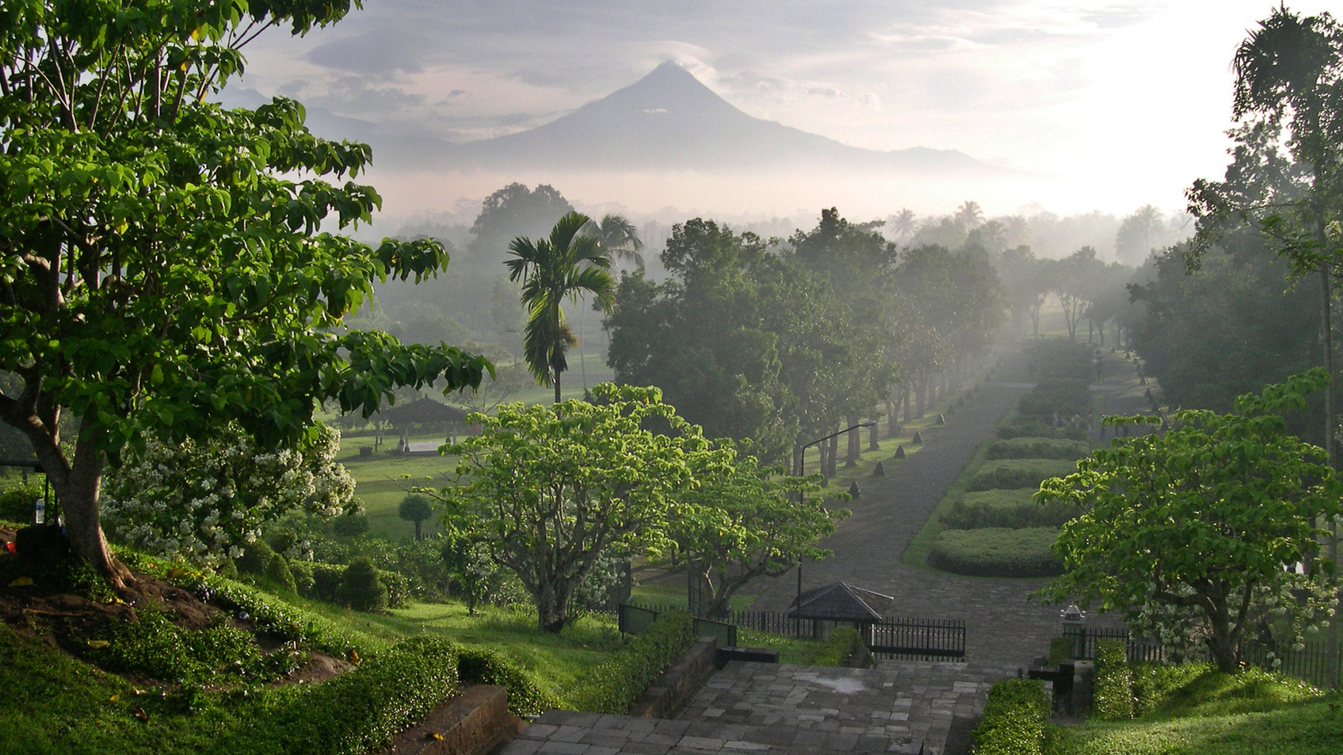 Mists at Candi Borobudur temple, Indonesia