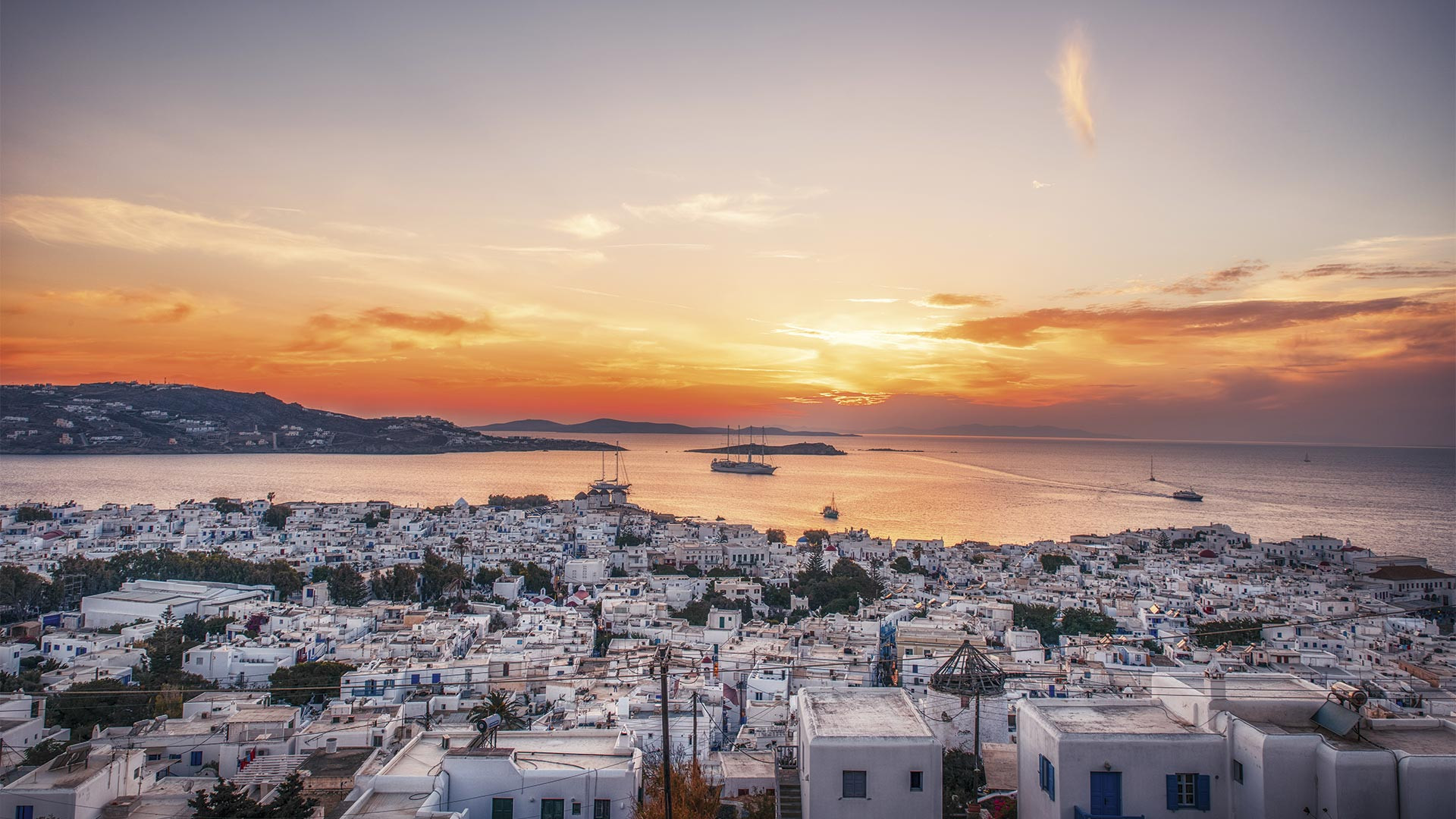 View of the Mykonos skyline from the top of the hill