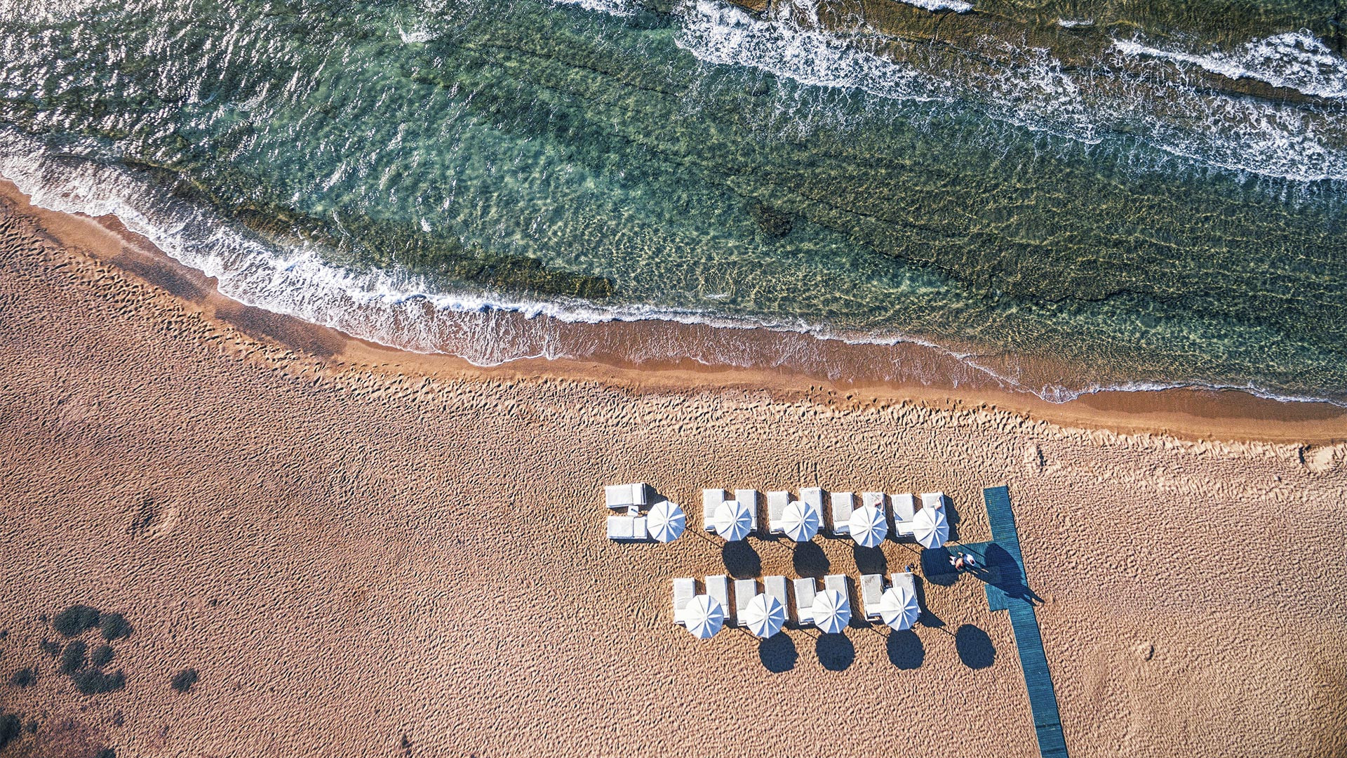 Drone photo of Mykonos Bay Ceach in Greece