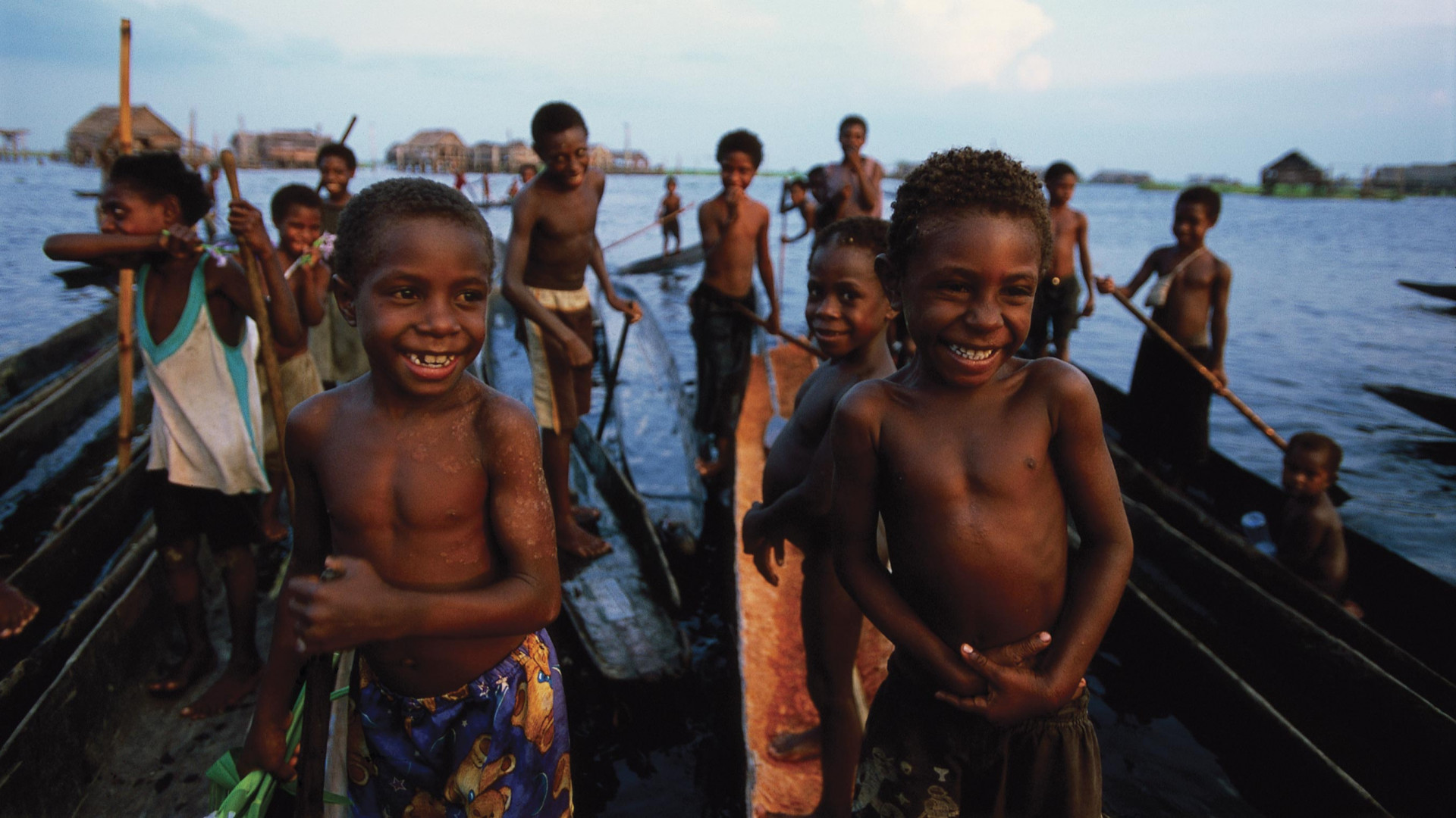 Children from a lake near the mouth of the Sepik river