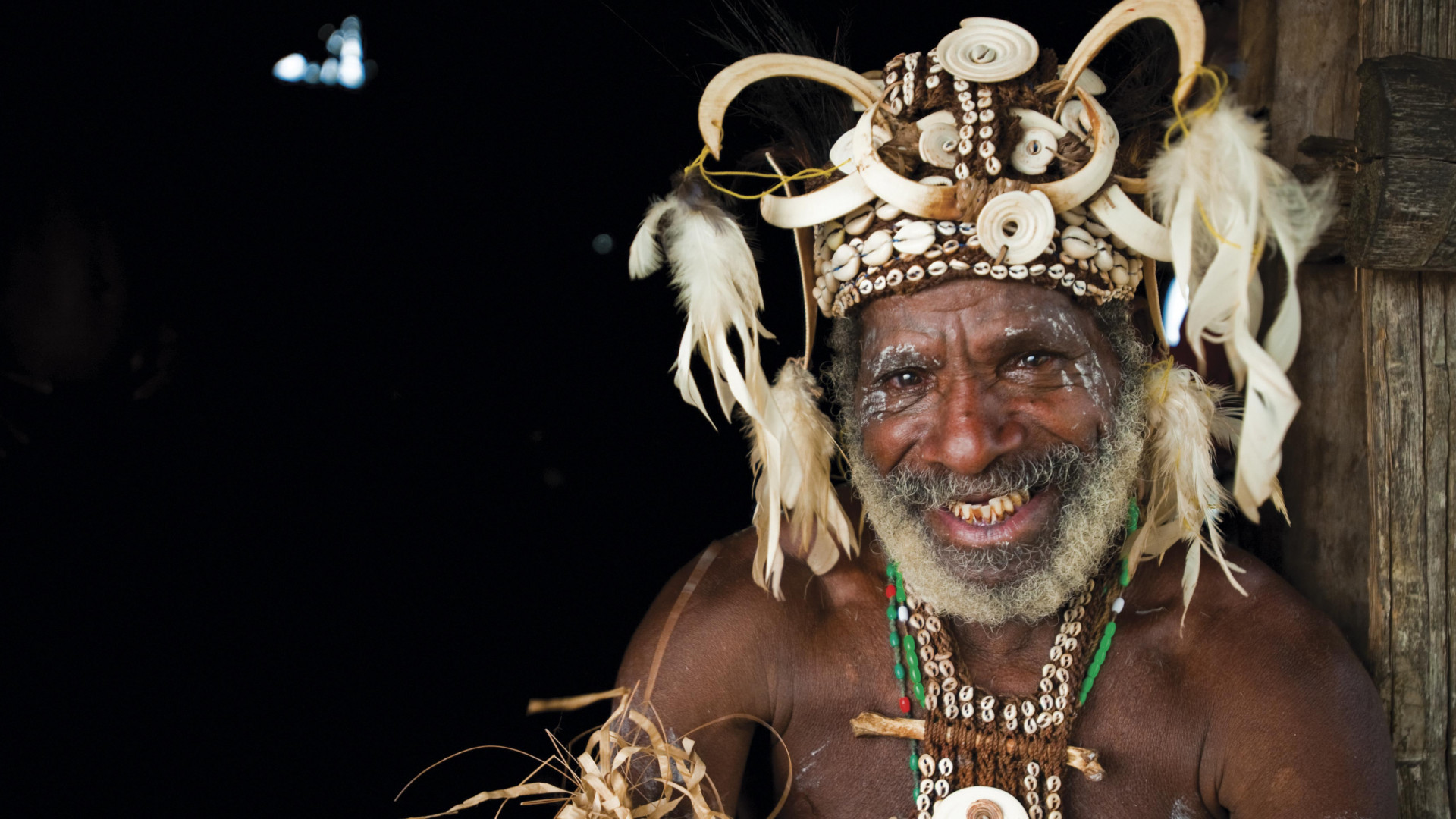 A man in traditional address in the Sepik river region