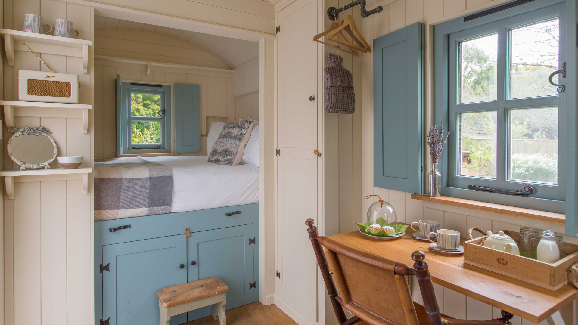 Interior of the shepherds hut at Daisybank B&B in the New Forest