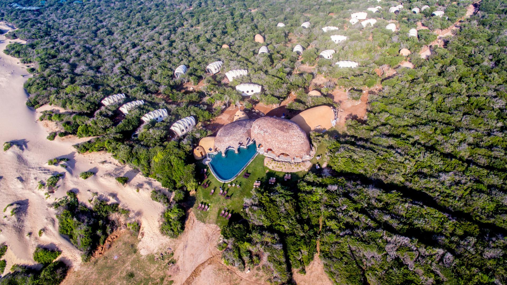 Aerial view of Wild Coast Tented Lodge in Sri Lanka