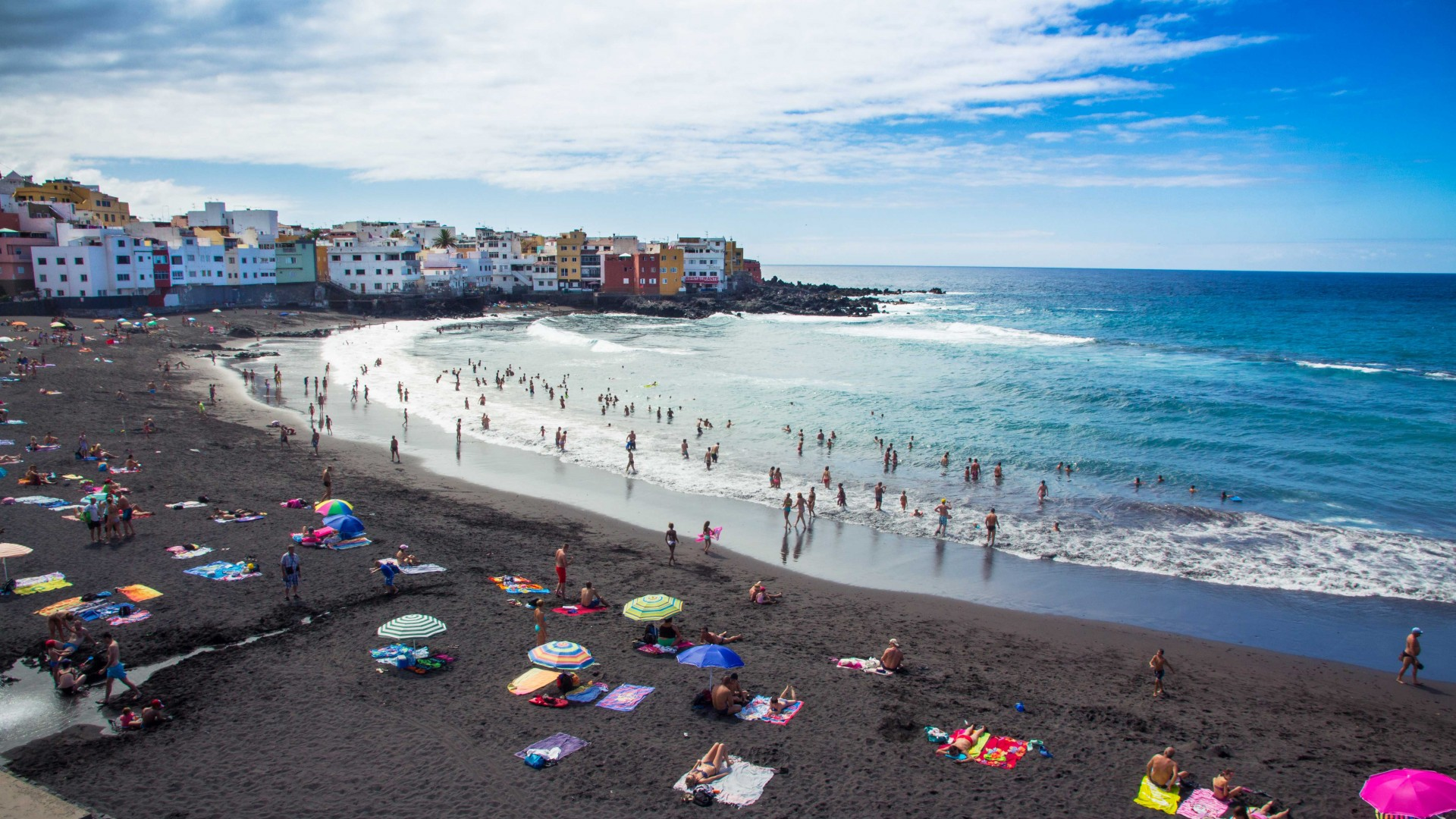 Black-sand beach in Tenerife, Spain