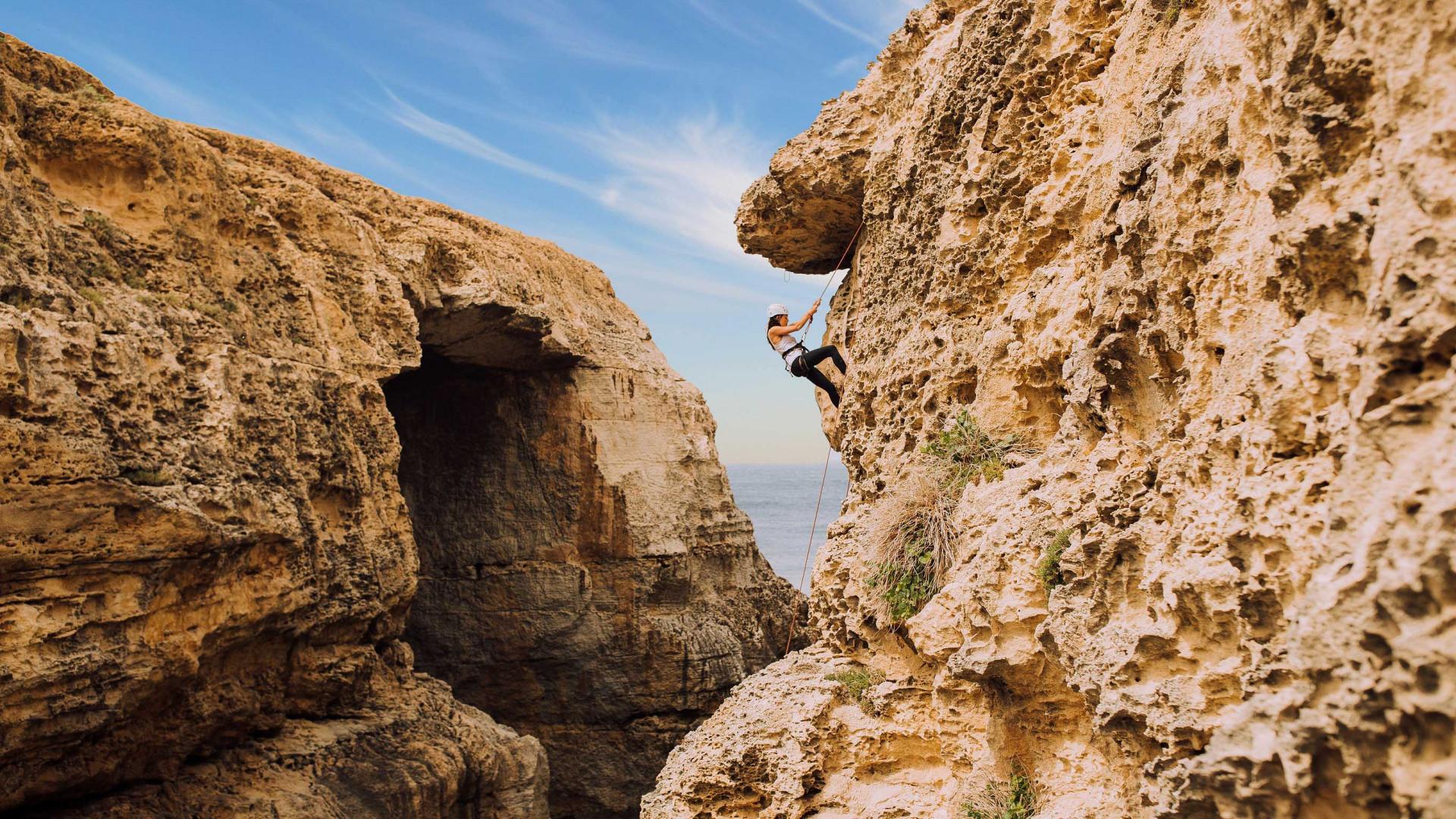 Rock climbing in Gozo, Malta