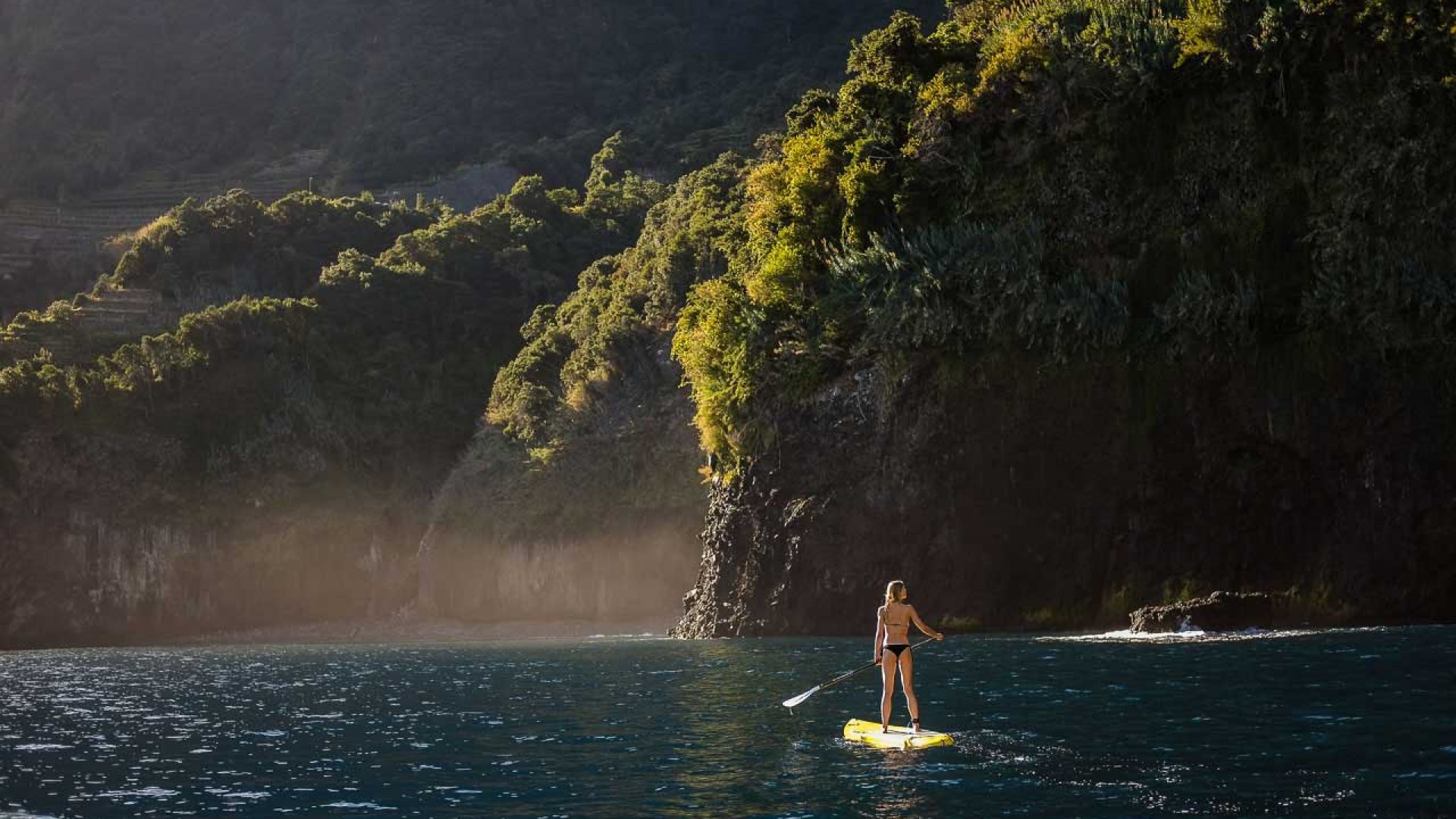Paddleboarding on the coast of Madeira, Portugal