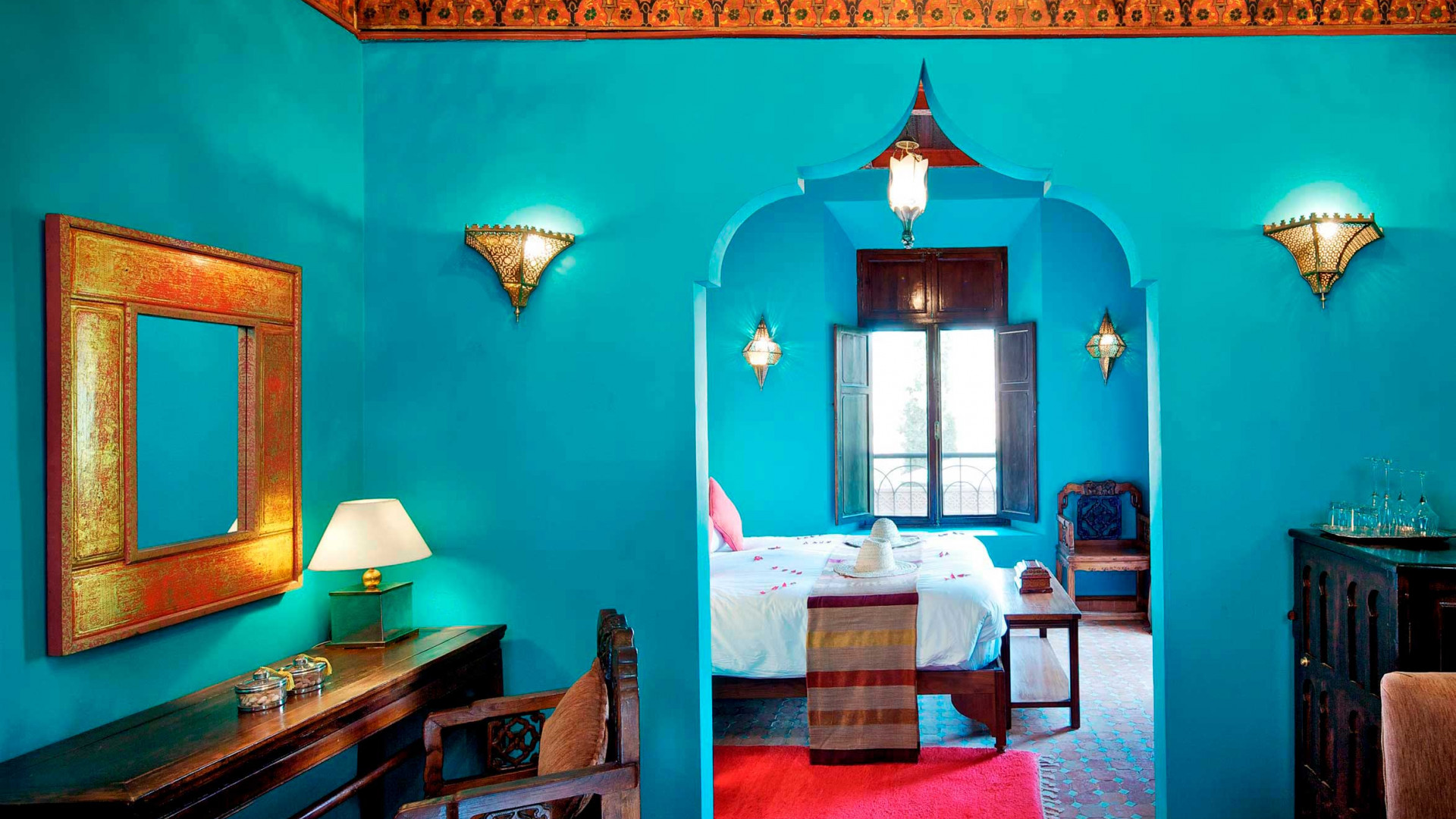 Rooms at Kasbah Tamadot, Atlas Mountains, Morocco