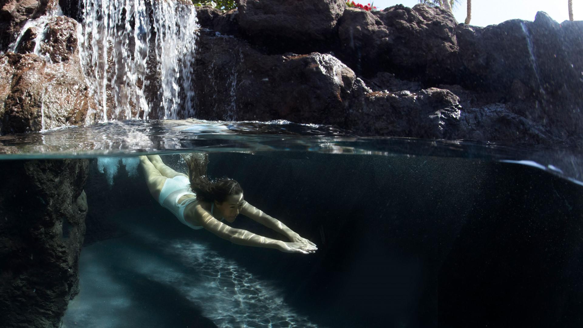 Swimming in Lanai, Hawaii