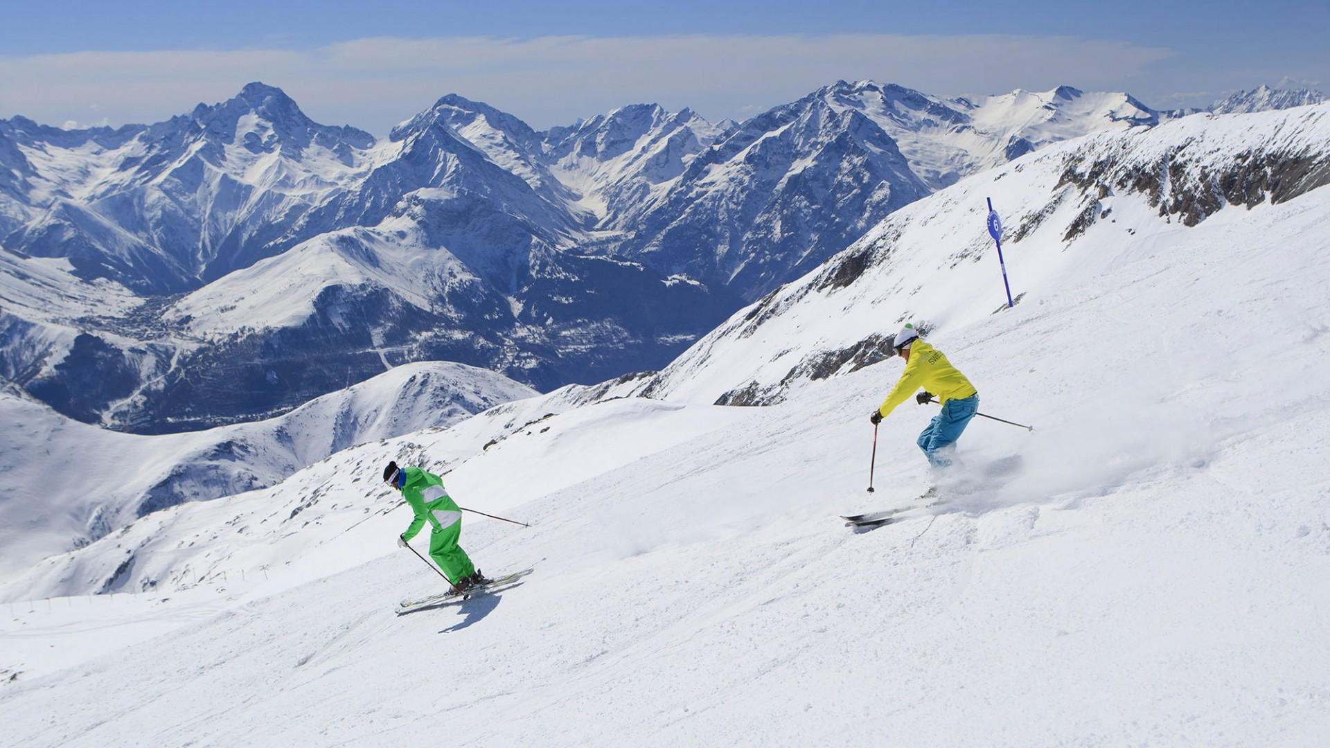 Skiing in Alpe D'Huez, France