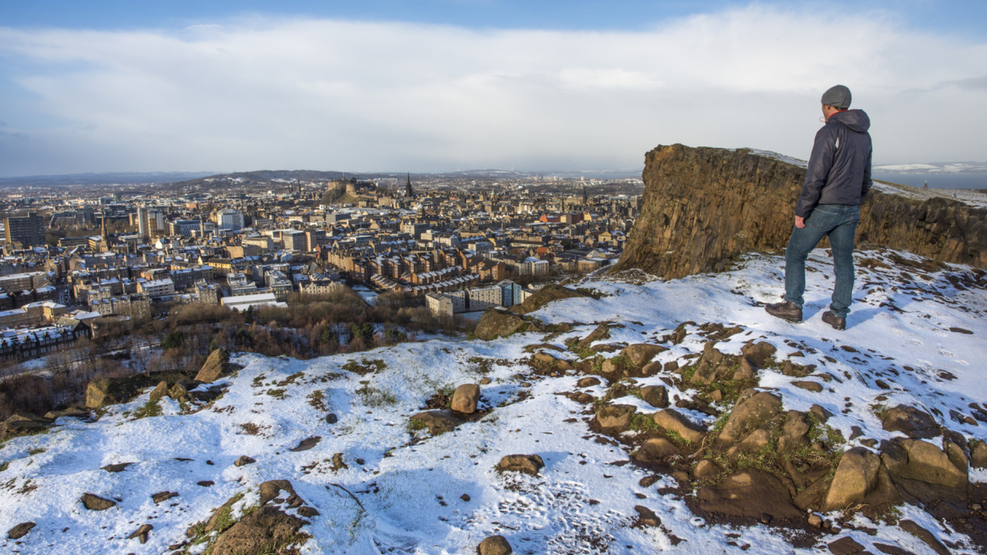 Looking over to the city of Edinburgh from Salisbury Crags in winter