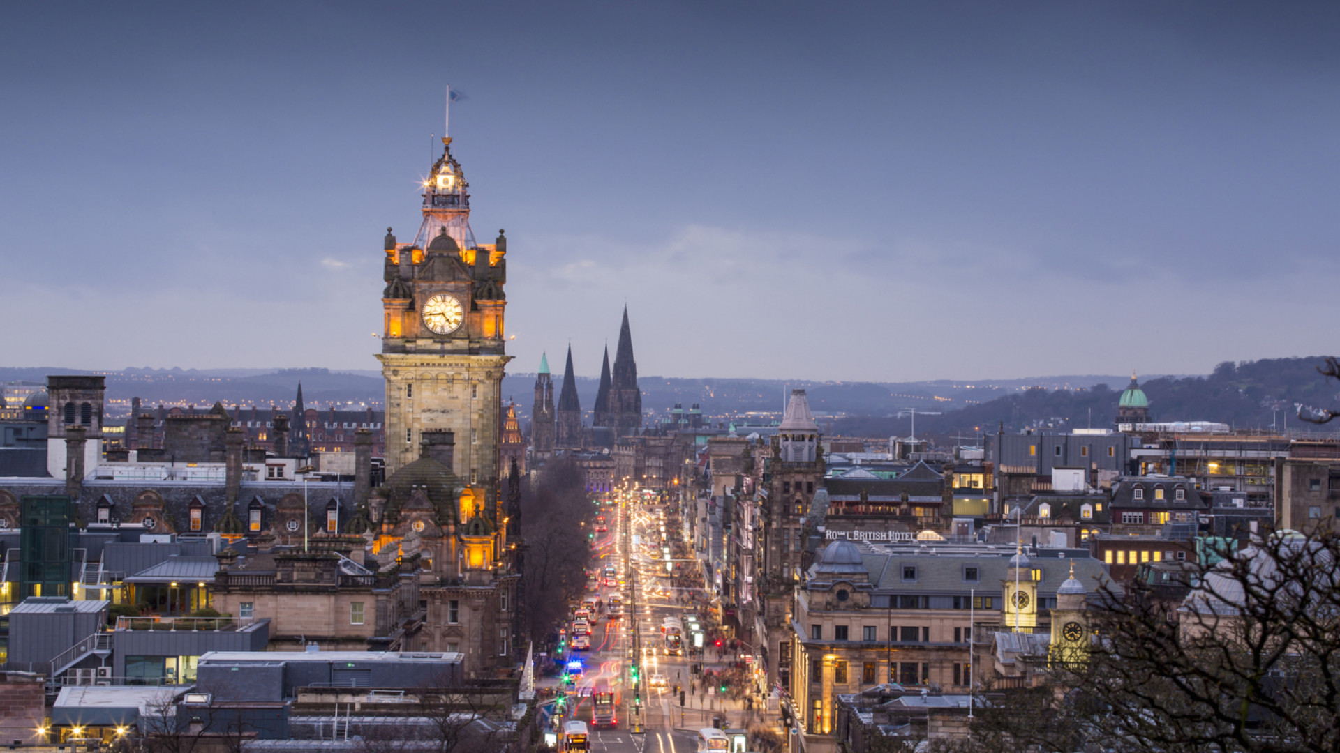 The Balmoral Hotel clock tower and Princes Street seen from Calton Hill, Edinburgh