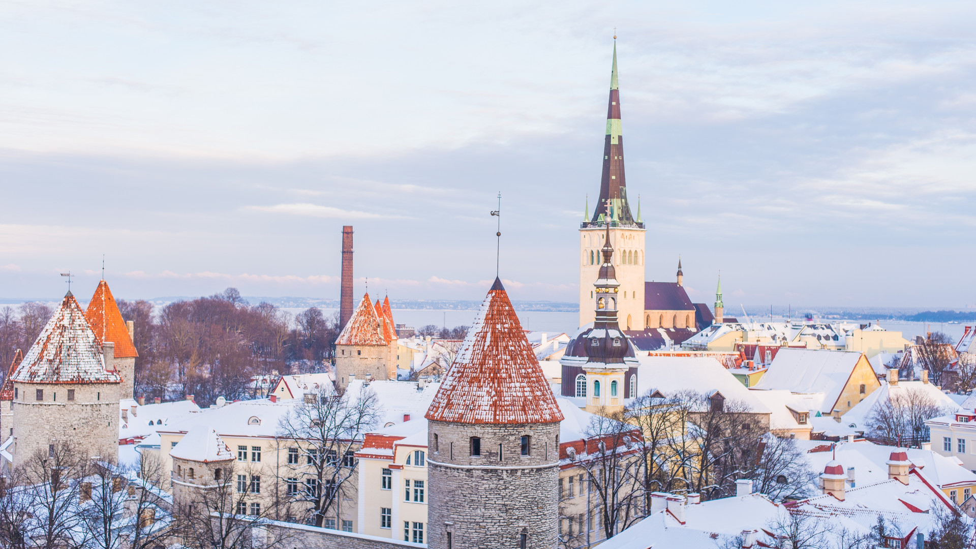 Snow covered old town of Tallinn in winter, the capital city of Estonia