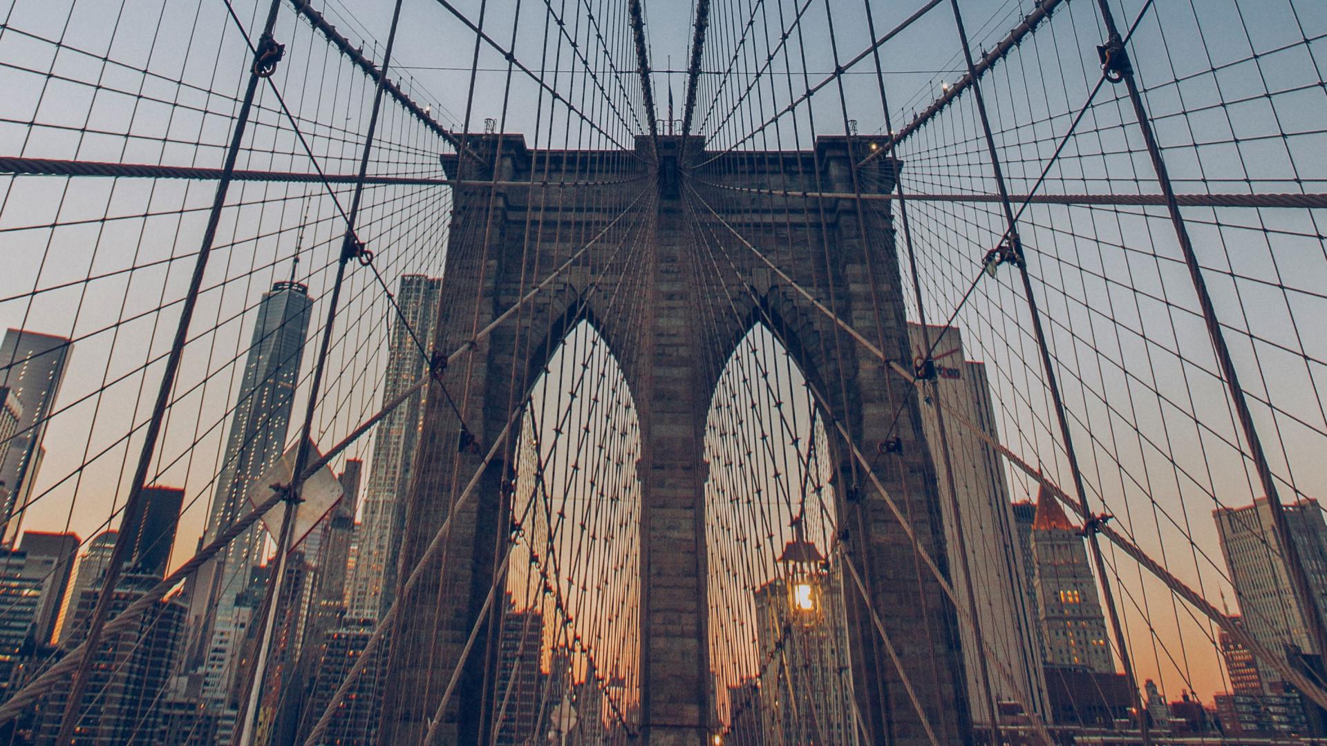 Brooklyn Bridge during a winter sunset