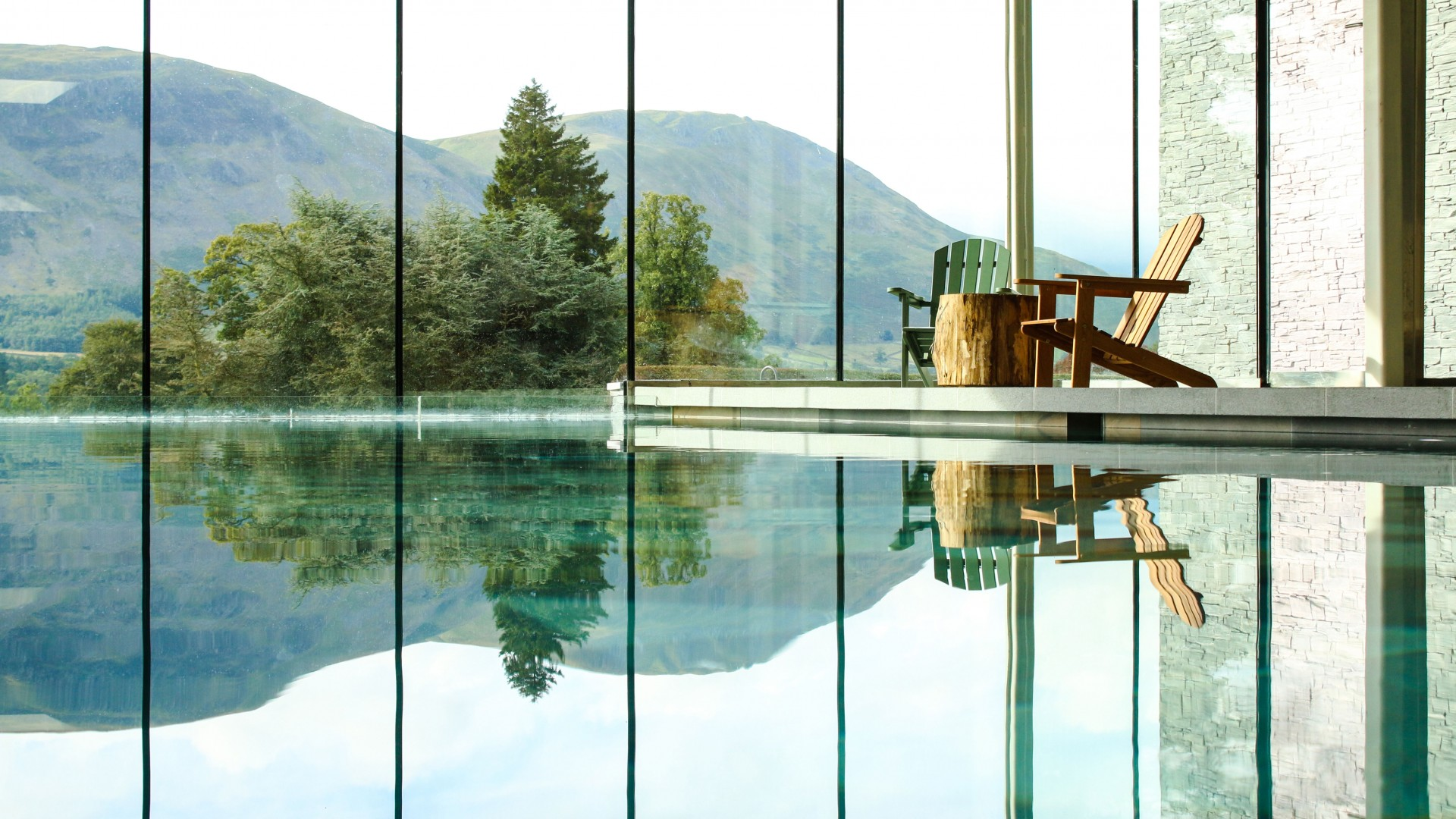 Swimming pool views at Another Place – The Lake, Lake District
