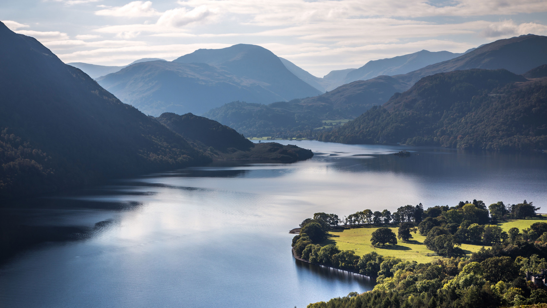 Aerial view of Ullswater, the Lake District