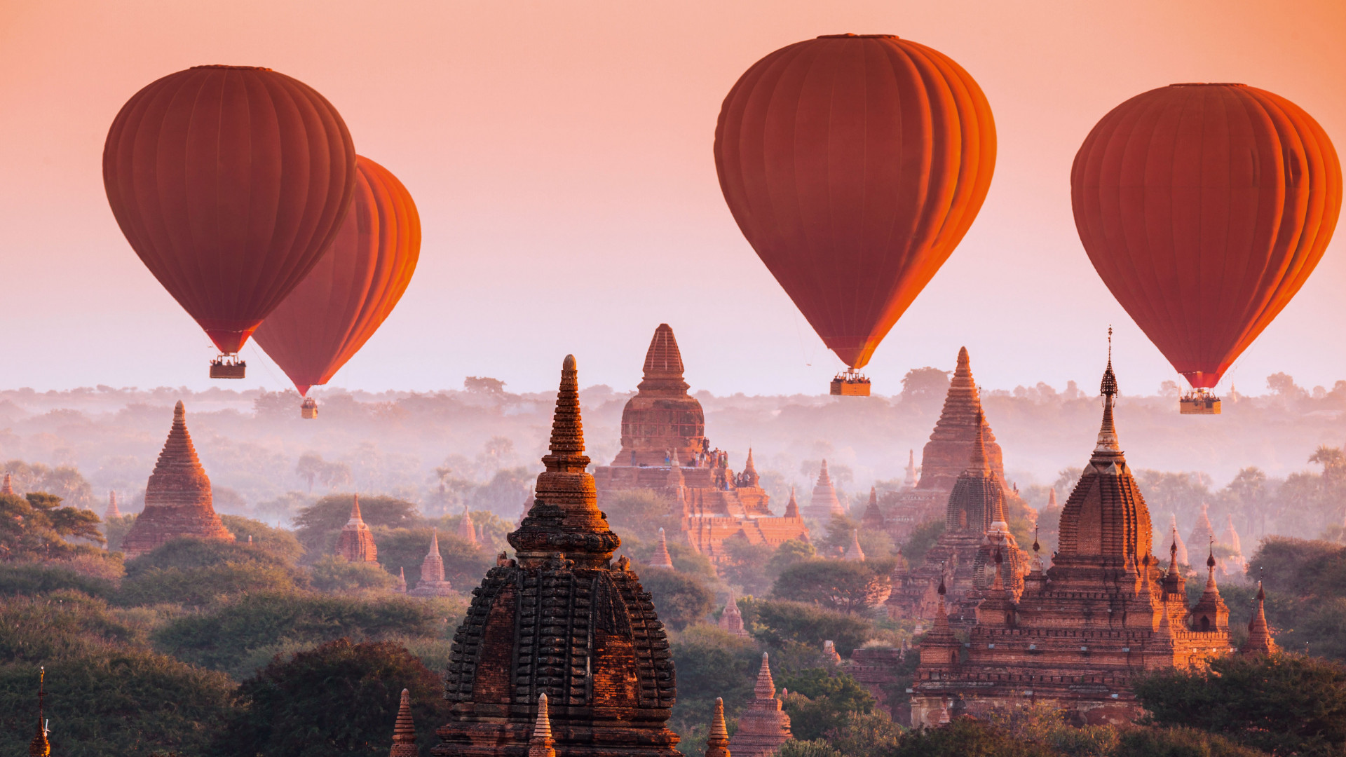 Red air balloons in Myanmar