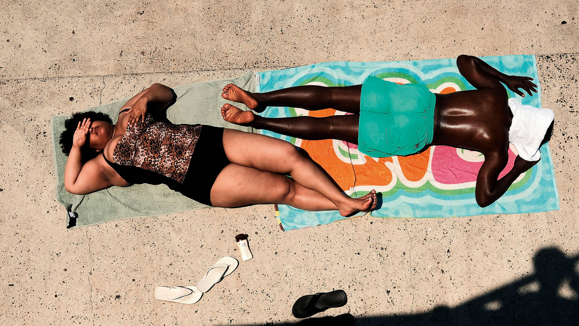 Sunbathers at Astoria Pool in Queens, New York City