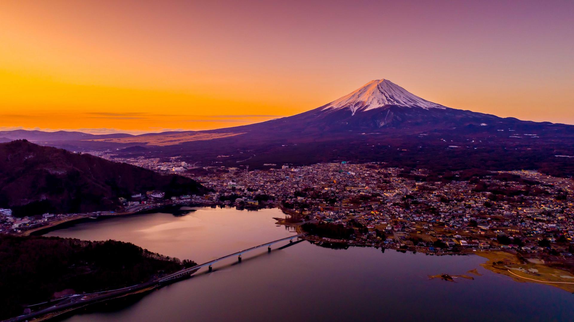Japan Rugby World Cup 2019: Mount Fuji, reflected in lake Kawaguchi, Japan