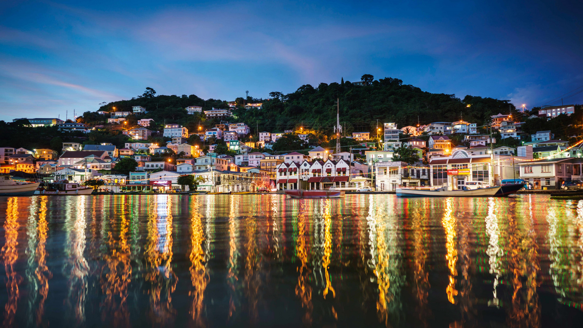 Grenada food and drink: St George's at night