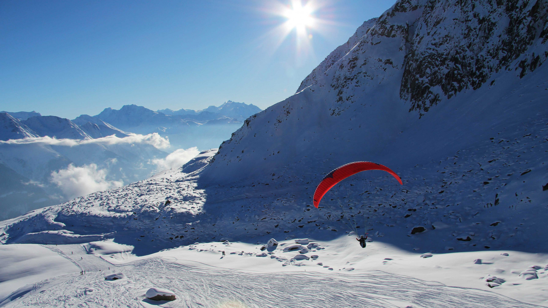 Paragliding in the Aletsch Arena, Valais, Switzerland