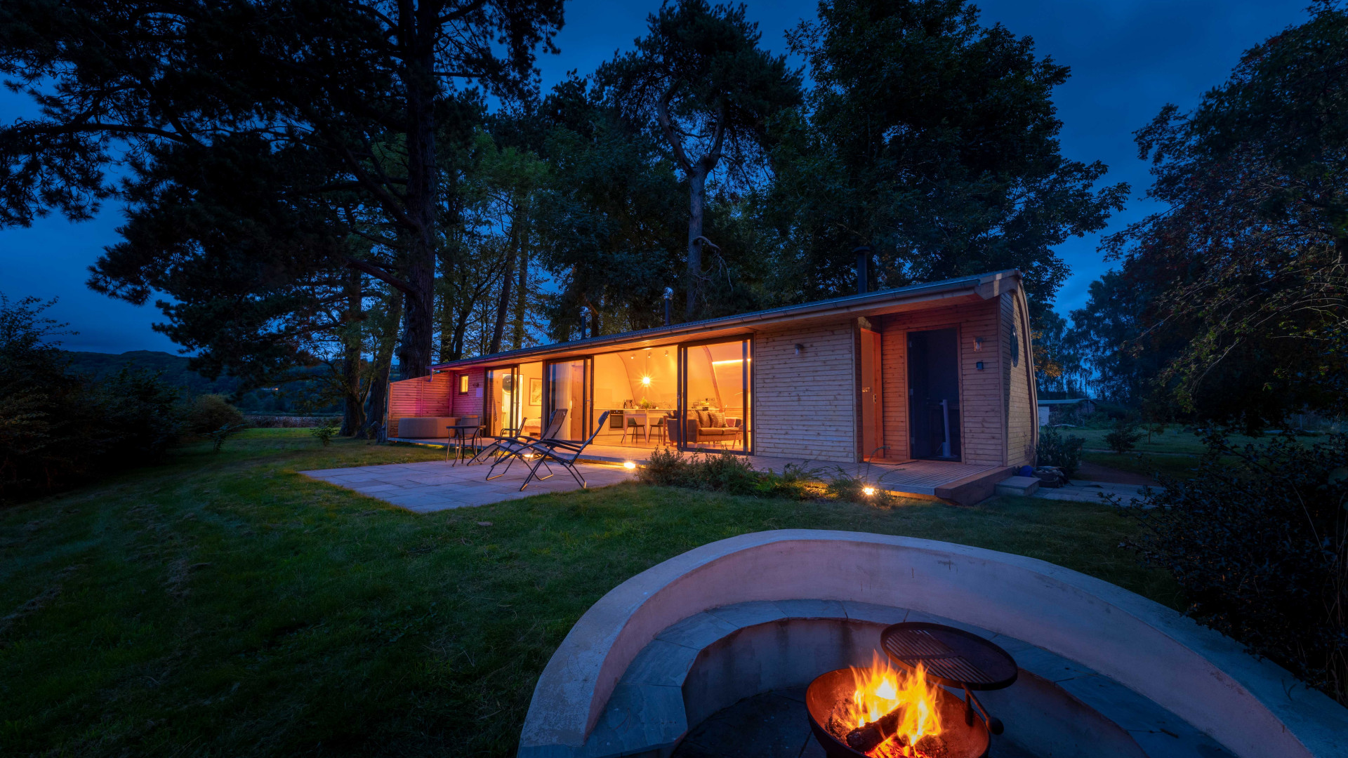 Cynefin Retreats | The fire pit and terrace