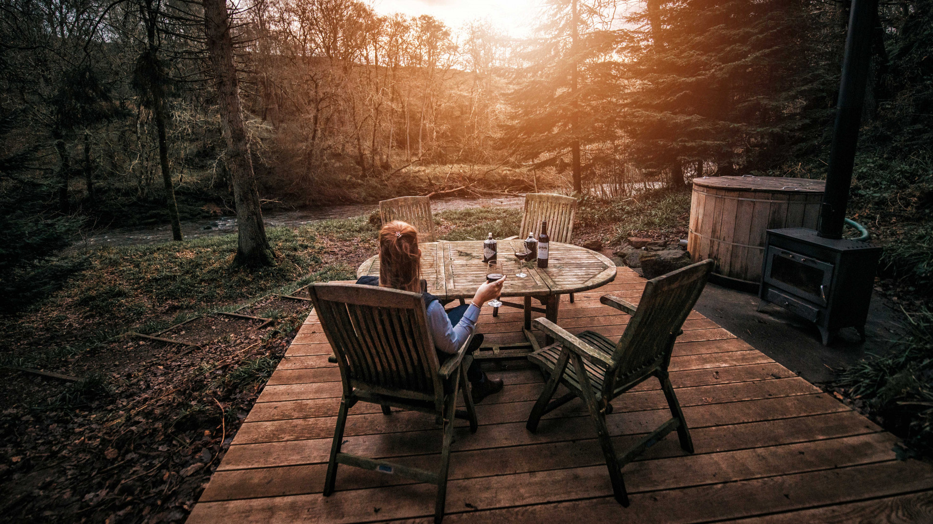 Best self-catering in the UK: Wood Cabin, Lake District, outdoor seating