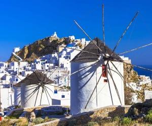 Windmill on isle of Serifos, Greece