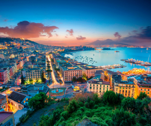 Naples, Italy | Naples' port at night