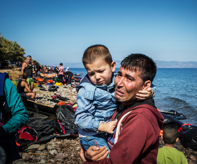 Lesbos Greece refugees arriving by boat