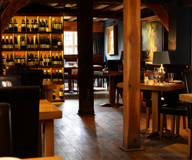 Bar and wine selection at The Bildeston Crown