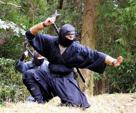 Throwing ninja stars in Iga