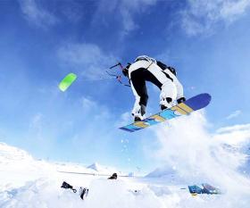 Kite boarder in swiss alps