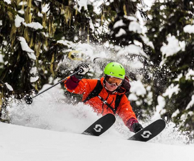 Off piste skiier in Calgary, Canada