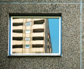 Reflected tower block in Berlin