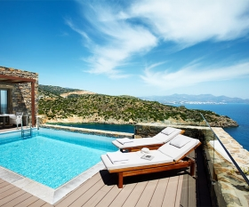 A villa pool area at Daios Cove